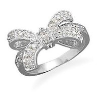 Bow Ring Cubic Zirconia size 5, 6, 7, 8, and 9 Rhodium Over Sterling Silver: Jewelry: Amazon.com