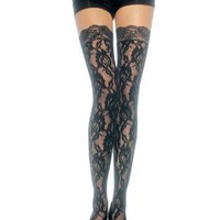 Amazon.com: Rose Lace Thigh High Nylon Stocking With Lace Top (Black;One Size): Clothing