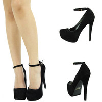 SEXY BLK MARY JANE ANKLE STRAP SKY HIGH HEEL PLATFORM STILETTO WOMEN PUMP SANDAL