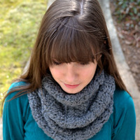 Grey Crocheted Infinity Scarf