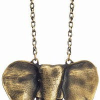 Gold Taj Elephant Necklace - Unique Vintage - Cocktail, Evening &amp; Pinup Dresses