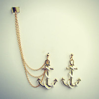 gold anchor ear cuff, anchor earrings, nautical earrings, anchor accessory,