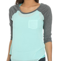 Chiffon Blocked Raglan Tee | Shop Just Arrived at Wet Seal