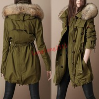 Fashion Wormen's Army Green Mink Fur Hooded Parka Overcoat Cotton Jacket Coats