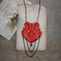 lace necklace - LAUREN- tangerine- long necklace