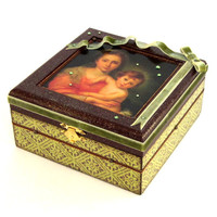 Jewelry Box Virgin Mary Decoupaged Box Decorated Religious Keepsake Box Madonna and Child Catholic Christian Decor Olive Green