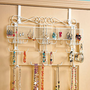 OVER DOOR JEWELRY VALET HOLDER ORGANIZER STORAGE RACK EARRING NECKLACE BRACELET