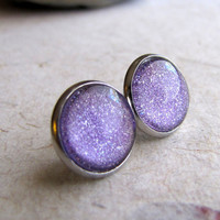 Lavender Holographic Post Earrings 12mm Silver by AshleySpatula