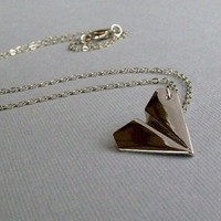 Silver Paper Airplane Charm Necklace by pinkingedgedesigns on Etsy