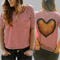 Ivory/Berry striped Heart Cut out Shirt Size Large Upcycled Heart shirt in Red/Cream from BglorifiedBoutique