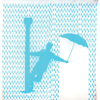 Blue Singing In The Rain Shower Curtain - Unique Vintage - Cocktail, Evening &amp; Pinup Dresses