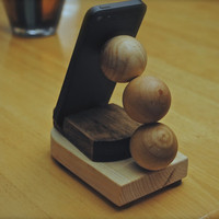 """The """"Tremor Stand"""" custom hand made wooden docking stand for iPhone, iPod, iPad mini, Nook and Kindle Fire"""