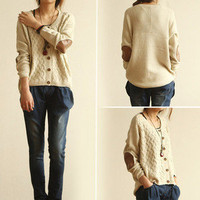 Cable Knit Cardigan Sweater with elbow pach