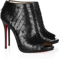 Christian Louboutin|Diplonana 120 scale-effect leather ankle boots|NET-A-PORTER.COM