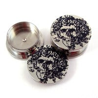Skeleton Stash Plugs - Surgical Steel - 0g (8 mm) 00g (10mm) 7/16&quot; (11 mm) 9/16&quot; (14mm) 5/8&quot; (16mm) - Threaded Container Gauges