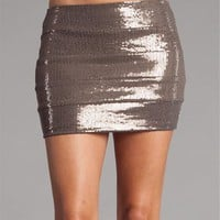 Mocha Sequin Banded Mini Skirt