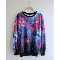 Amazon.com: Women&#x27;s Galaxy Space Starry Print Girl Long Sleeve Top Round T Shirt Red&amp;blue: Sports &amp; Outdoors