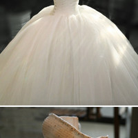 Debbie/wedding gown/women clothing/bridal dress/crystal/train/full/custom made/ALL SIZE