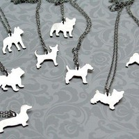 Sterling Custom Puppy Silhouette Necklace by mooshygooshies