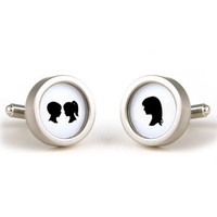 Silhouette Cufflinks - $50.00 : Le Papier Studio, The premier online retailer for custom silhouette gifts, custom wedding invitations and stationery, silhouette jewelry, monogram gifts and silhouette nursery decor.