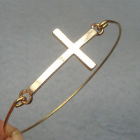 Gold Cross Bangle Bracelet on Luulla