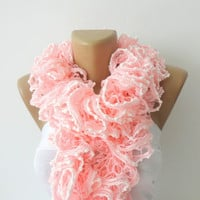 Valentines day,Hand Knit Ruffled Scarf ,pink scarf,UNDER 25,pink and white,accessories,gifts for her,fashion,long scarf