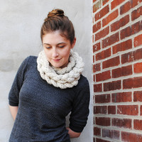 the Fairhill braided knit scarf in oatmeal by ohjustjess on Etsy