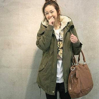 Thick Fleece Warm Winter Overcoat Long Jacket