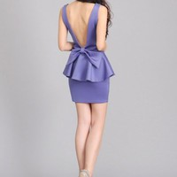 Ethisa Bow Back Dress - Purple