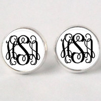 Monogram Stud Earrings - 252 - Black & white