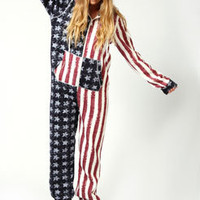 Lara USA flag Hooded Onesuit