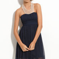 Way-In Pearl Neckline Halter Dress (Juniors) | Nordstrom