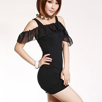 Lovable Fashion Chiffon Falbala Black Beauty Dresses : Wholesaleclothing4u.com