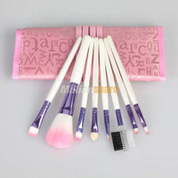 8pc Makeup Brush Set + Case Pink