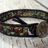 Southwest Native Friendship Bracelet, Leather Wrap Bracelet, Southwestern Chic, Rustic