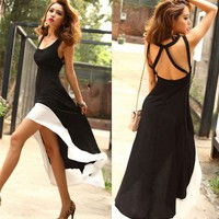 Deep U  Black &amp; White Dress