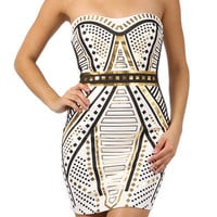strapless color block metallic tube dress