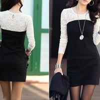Long Sleeve Crew Neck Lace ♡ Dress