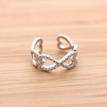 HEART & INFINITY ring with crystals, 2 colors   girlsluv.it