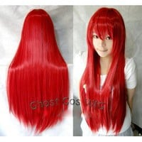 Amazon.com: Vocaloid Long Cosplay Party Red Straight Wig 100cm: Toys &amp; Games