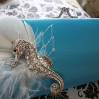 Clutch Blue Wedding Bride Seahorse Tiffany Blue by Parisxox