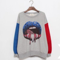 Loose lips pattern round neck hedging sweater FS60