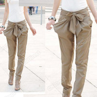 Hot Women Fashion Harem Skinny Long Trousers OL Casual Slim Bow Pants