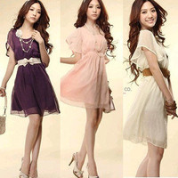 Korean Fashion Women's Vintage Chiffon Pleated Slim Dress Casual Light Dress