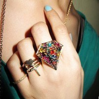 Large Colourful Rhinestone Diamond Ring