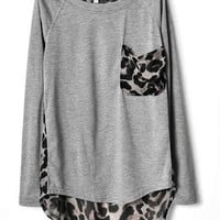 Ladies Cotton and Chiffon Grey Loose Top YIF11664g from efoxcity