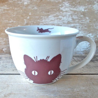 Kitty Cat and Yarn Tea Cup Mug, 14 oz Teacup Style Mug, Porcelain, Dishwasher Safe Coffee Mug, Ready to Ship