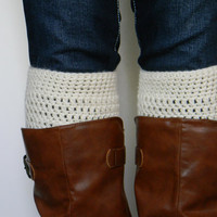 Womens Boot Socks // Boot Cuffs // Boot Topper // Ivory, Cream // Straight Up Boot Cuffs