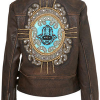 Embellished Hamsa Leather Biker Jacket - Jackets  - Clothing