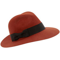 Burnt orange felt fedora - Hats - Accessories - Dorothy Perkins
